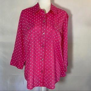 Karen Scott Pink Polka Dot Button Down Top XL